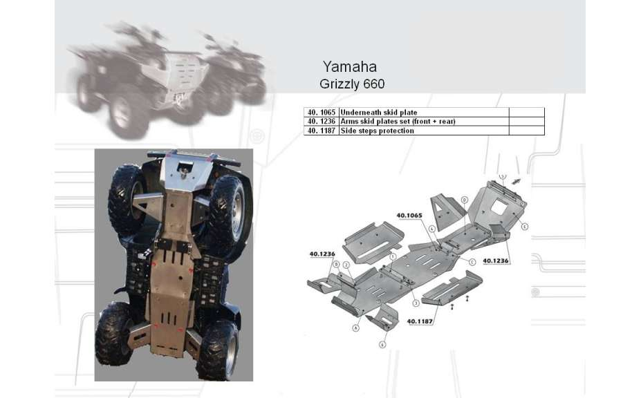Osłona spodu pod quada ATV, Yamaha Grizzly 660, 2006->, Nierdzewna stal 2 mm